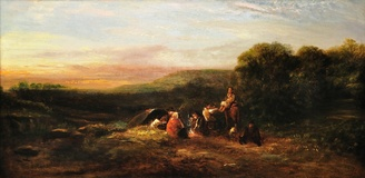 Travellers at rest in a Surrey landscape
