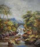 Stone Bridge & Waterfall in an Upland Landscape
